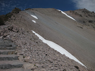 Steps lead to the upper (closed) segment of the Lassen Peak Trail, Lassen Volcanic National Park, California