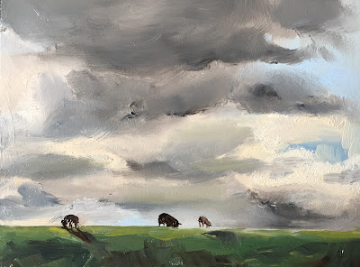 Sheep on the dyke with big clouds, oil painting by Philine van der Vegte