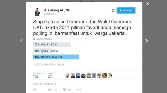 Polling Twitter Bikinannya Menangkan Ahok-Djarot, Haji Lulung di Banjiri Komentar Netizen