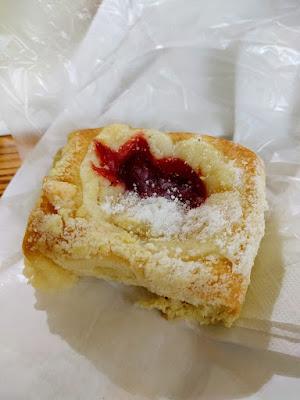 We gotcha kolache: a cherry kolache at Weikel's Bakery on a Houston to Austin road trip