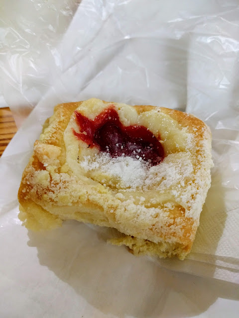We gotcha kolache: a cherry kolache at Weikel's Bakery on a Houston to Austin road trip