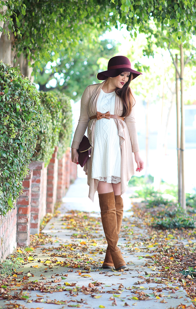 Ann Taylor jersey open cardigan, BP burgundy wool felt hat, CeCe by Cynthia Steffe cotton blend a-line sweater dress, Fall outfit, Lace tunic, MAC lipstick in diva, Pregnancy petite outfits, Steve Madden Orabela knee high boots