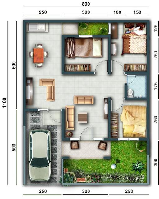 3 kamar tidur adn 1 taman kecil yang berada di belakang