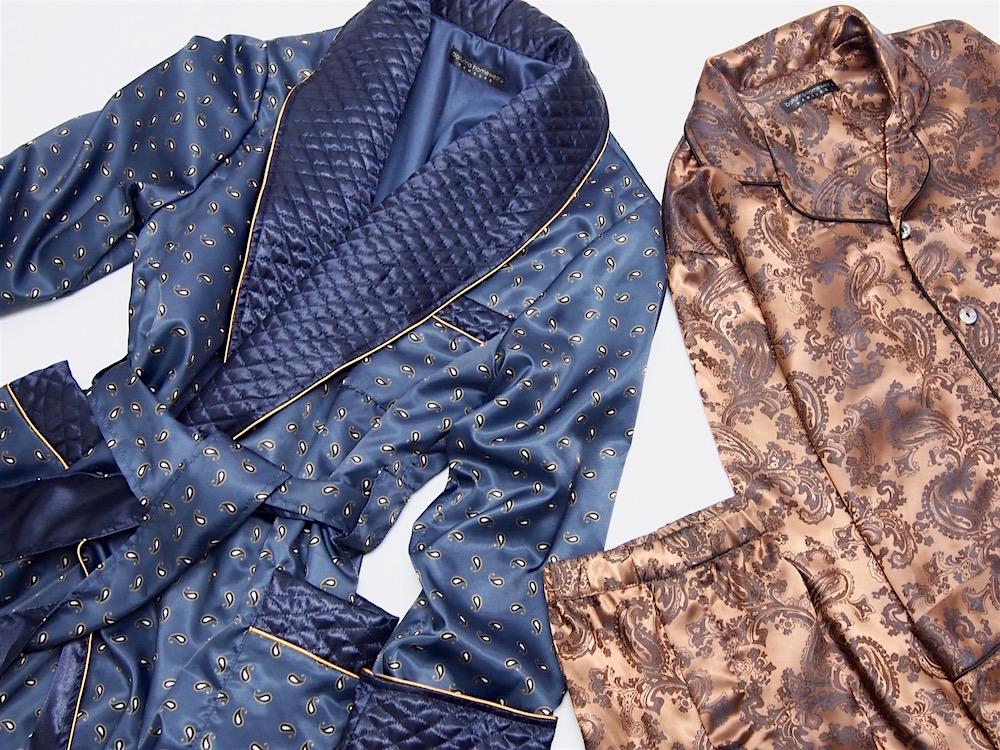 Men\'s Bespoke Luxury Pajamas - Tailored Paisley Silk Pajama Sets