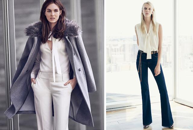 Белая блузка с бантом и белые брюки с серым пальто для классика