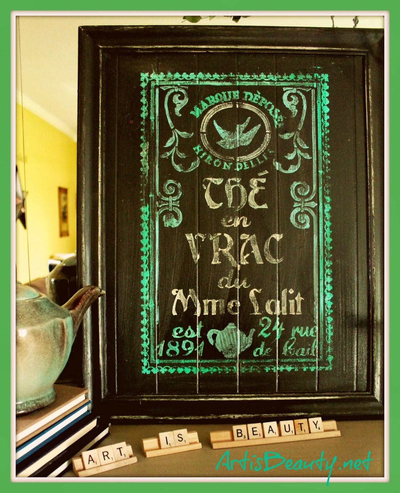 6eba140111 ART IS BEAUTY  Vintage Tea Label Cupboard Art and Maison de Stencils ...