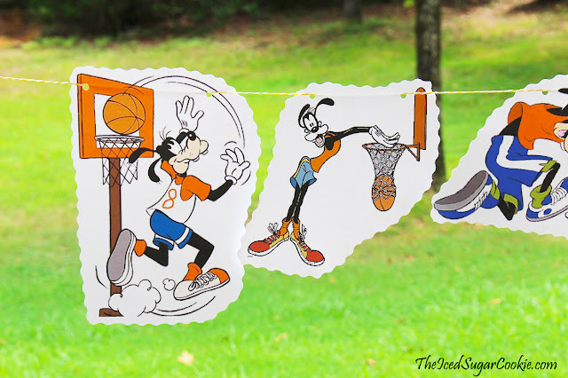 DIY Goofy Playing Basketball Sports Hanging Flag Banner Birthday Party Ideas