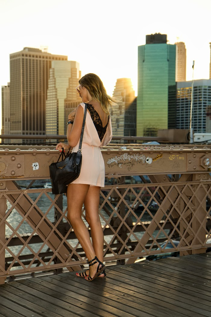 Vancouver Fashion Blogger, Alison Hutchinson, spent the day in brooklyn wearing a Topshop Pink Romper, Black gladiator sandals, a silver Botkier Valentina Bag, and a name necklace from oNecklaces.