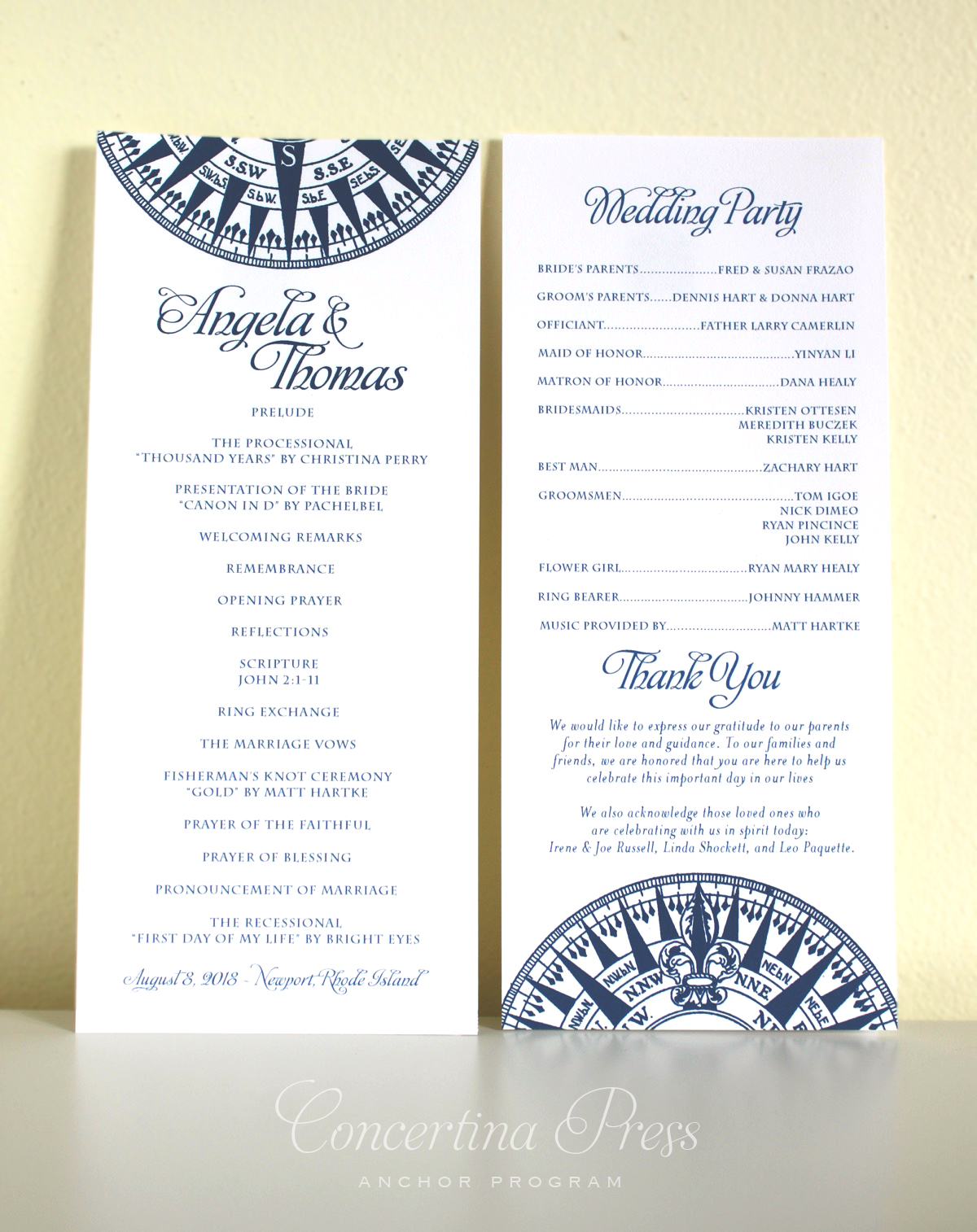 Nautical Wedding Programs from Concertina Press for your beach wedding