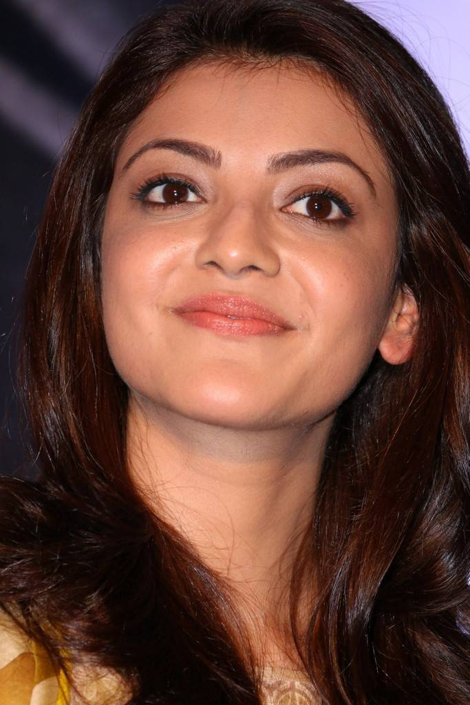 Beautiful Marathi Girl Kajal Aggarwal Long Hair Smiling Face Close Up Stills