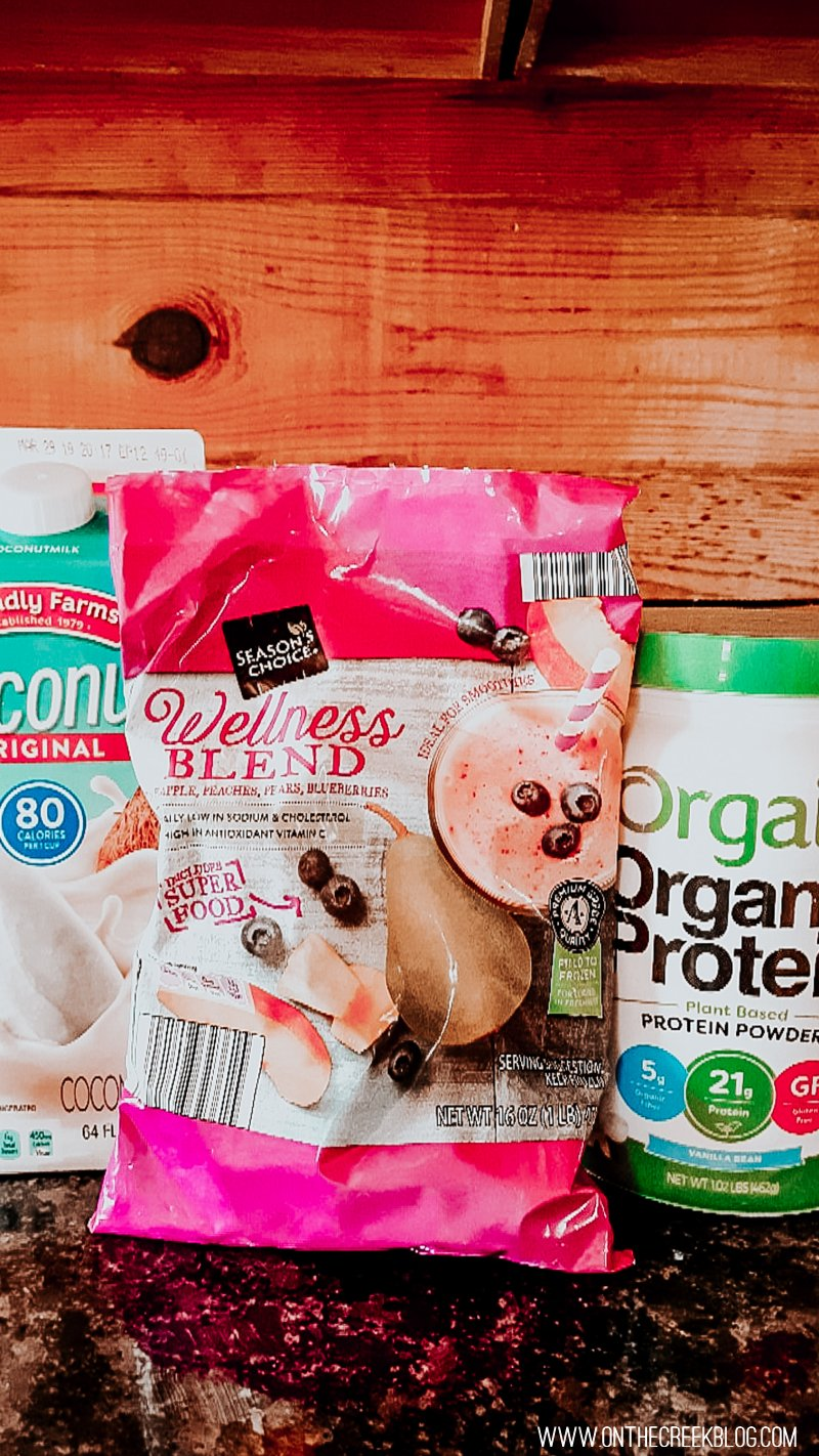 Protein shake using frozen fruit, coconut milk & Orgain protein powder!