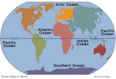 Map of 5 Oceans