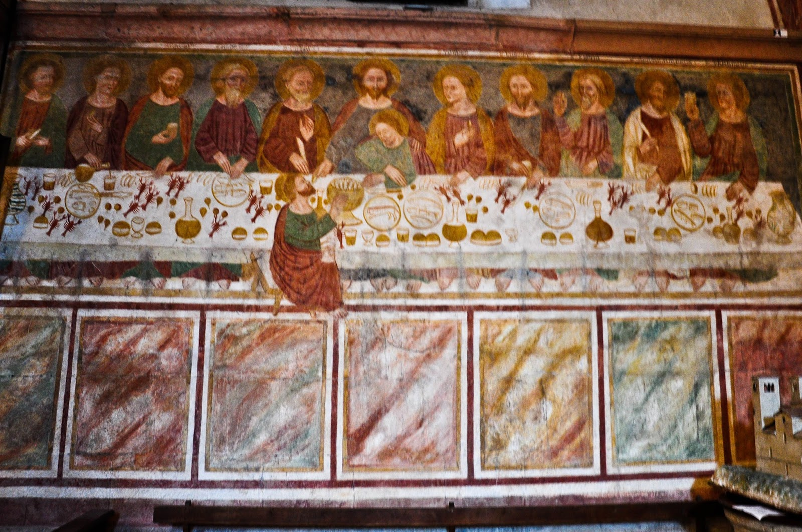 The Last Supper, 14th century, Inside the church, Sanctuary of St. St. Vittore e Corona, Feltre, Veneto, Italy