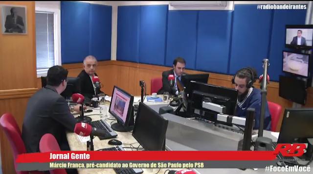"""Programa """"Jornal Gente"""" transmitindo ao vivo do estúdio da Rádio Bandeirantes: engatinhando nas transmissões pela internet (Foto: Reprodução/Internet)"""