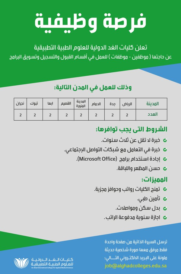 وظائف السعودية وظائف إدارية للرجال والنساء في كليات الغد الدولية بمختلف مدن المملكة