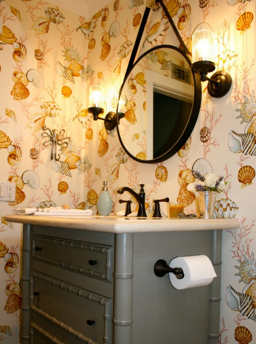 Powder Room Makeover with Seashell Wallpaper