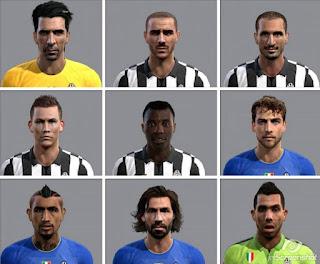 Faces: 1.Buffon 2.Bonucci 3.Chiellini 4.Lichtsteiner 5.Asamoah 6.Marchisio 7.Vidal 8.Pirlo 9.Tevez, Pes 2013