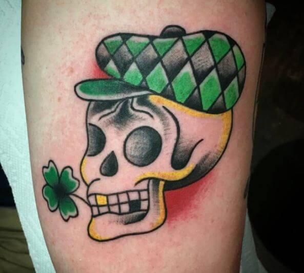 Irish%2BLeaf%2BSkull%2BTattoo%2BDesign%2Bon%2BCalf.JPG