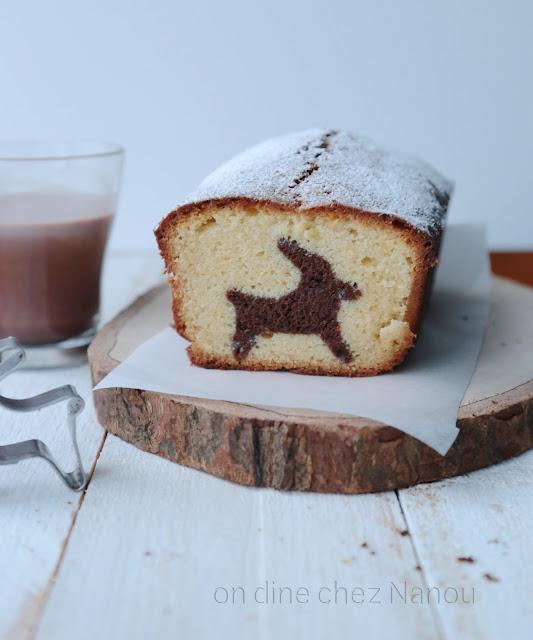 cake marbré , trop mignon , surprise , renne , noel