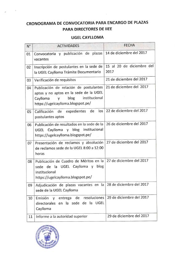 Cronograma de convocatoria de encargo de plazas para for Convocatoria de plazas docentes 2017