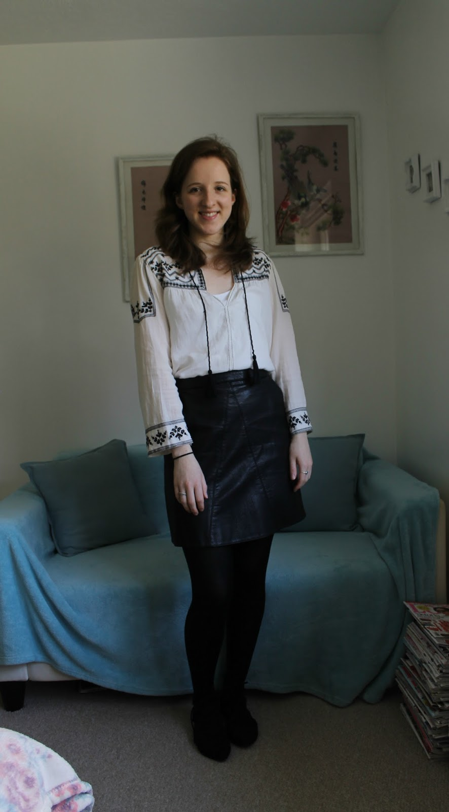 Everything But The Kitchen Sink: OOTD: Peasant Shirt and Leather Skirt