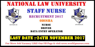 National Law University Recruitment 2017 Staff Nurse Vacancy in Odisha