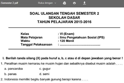 Soal Uts Semester 2 Mapel Ips Kelas 6 Sd Informasi