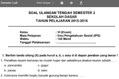 Download Soal UTS IPS Semester 2 Kelas 6 SD