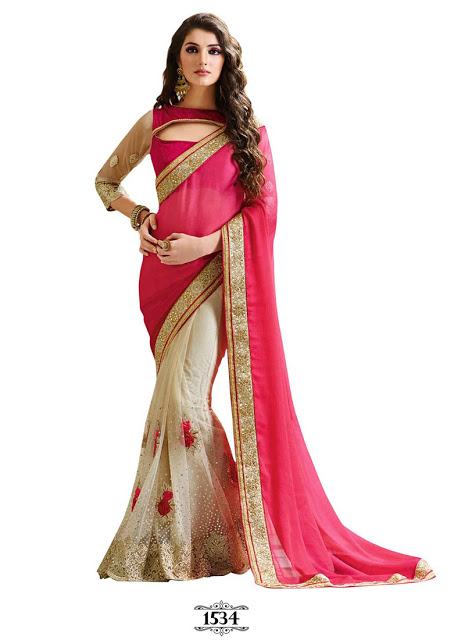 Kaavi Fab Pink & Off White Georgette With Net Designer Saree
