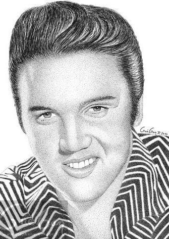 Elvis Presley realizado por el artista francés Stéphane Guégan