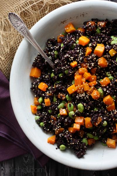 Forbidden Rice w/ Butternut Squash & Edamame #12WeeksofWinterSquash #sidedish