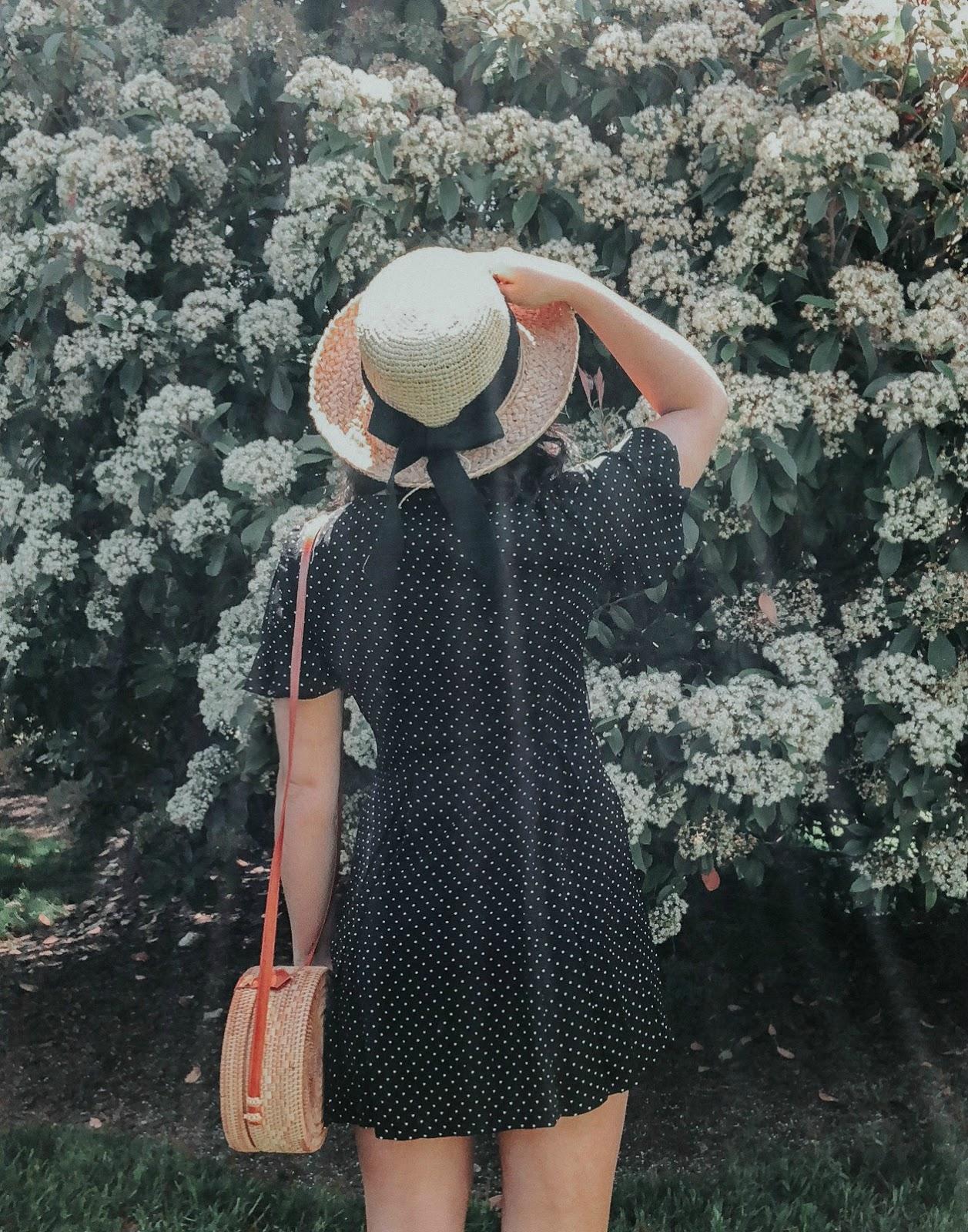francesca's polka dot dress, french style, rattan bag, free people bag, xo samantha brooke, polka dot dress, ruffle sleeve dress, feminine fashion, life and messy hair, nc blogger, nc photographer
