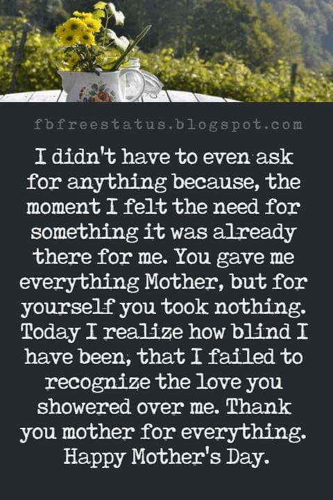 best mothers day messages, I didn't have to even ask for anything because, the moment I felt the need for something it was already there for me. You gave me everything Mother, but for yourself you took nothing. Today I realize how blind I have been, that I failed to recognize the love you showered over me. Thank you mother for everything. Happy Mother's Day.