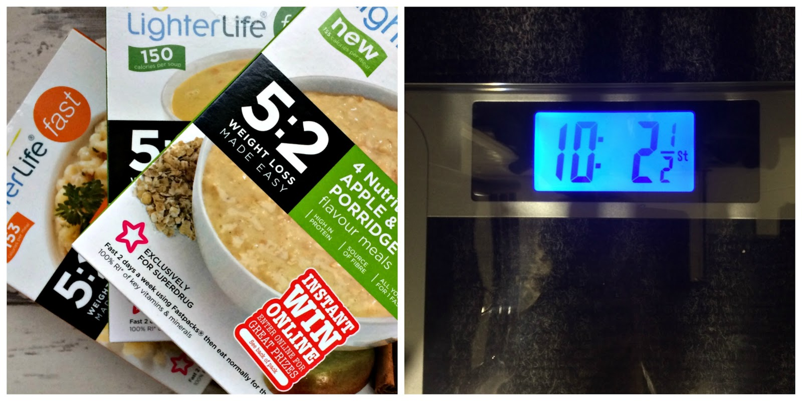 Selection of LighterLife Fast ready meals and weighing scales showing weight of 10 st 2lbs