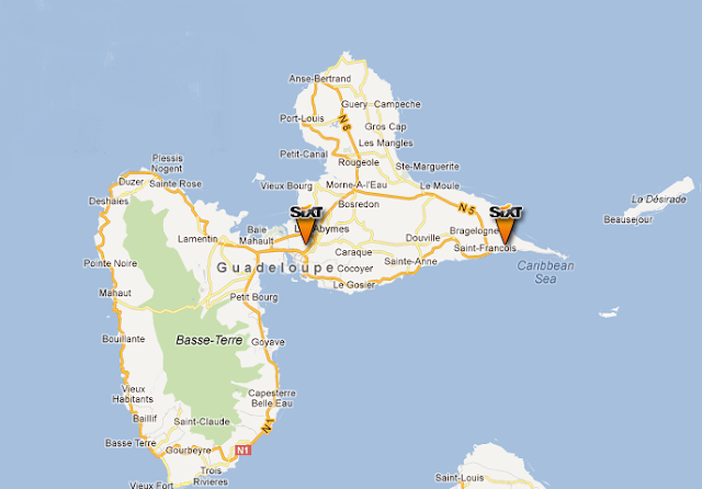 Carte localisation agence location voitures Sixt en Guadeloupe