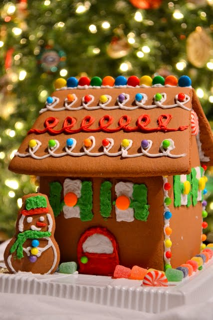 Working on a Winter Wonderland Gingerbread House The