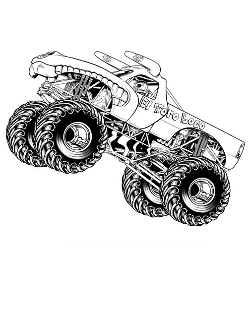 Monster Truck Coloring Pages - GetColoringPages.com | 647x500