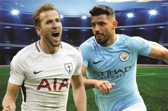 Harry Kane of Tottenham and  Sergio Aguero of Manchester City