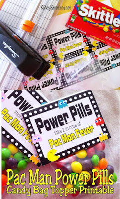 Print a fun bag topper for your Pac Man, arcade, or video game birthday party with these old school Pac Man Fever Power pills.  This party favor is quick to put together and a sweet treat at your new party.