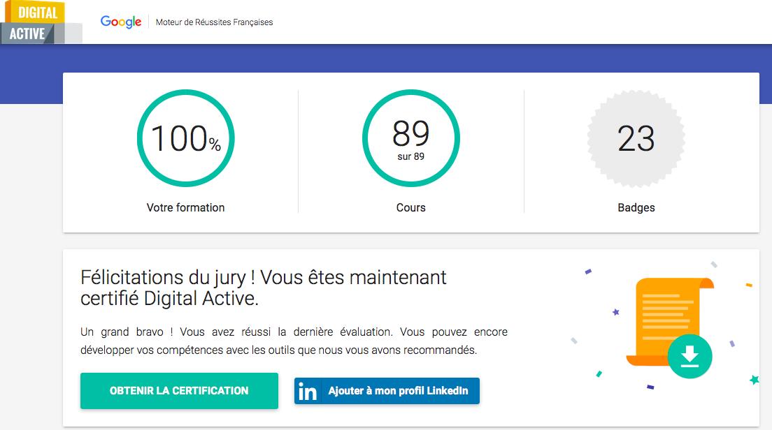 certification google digital active obtenue