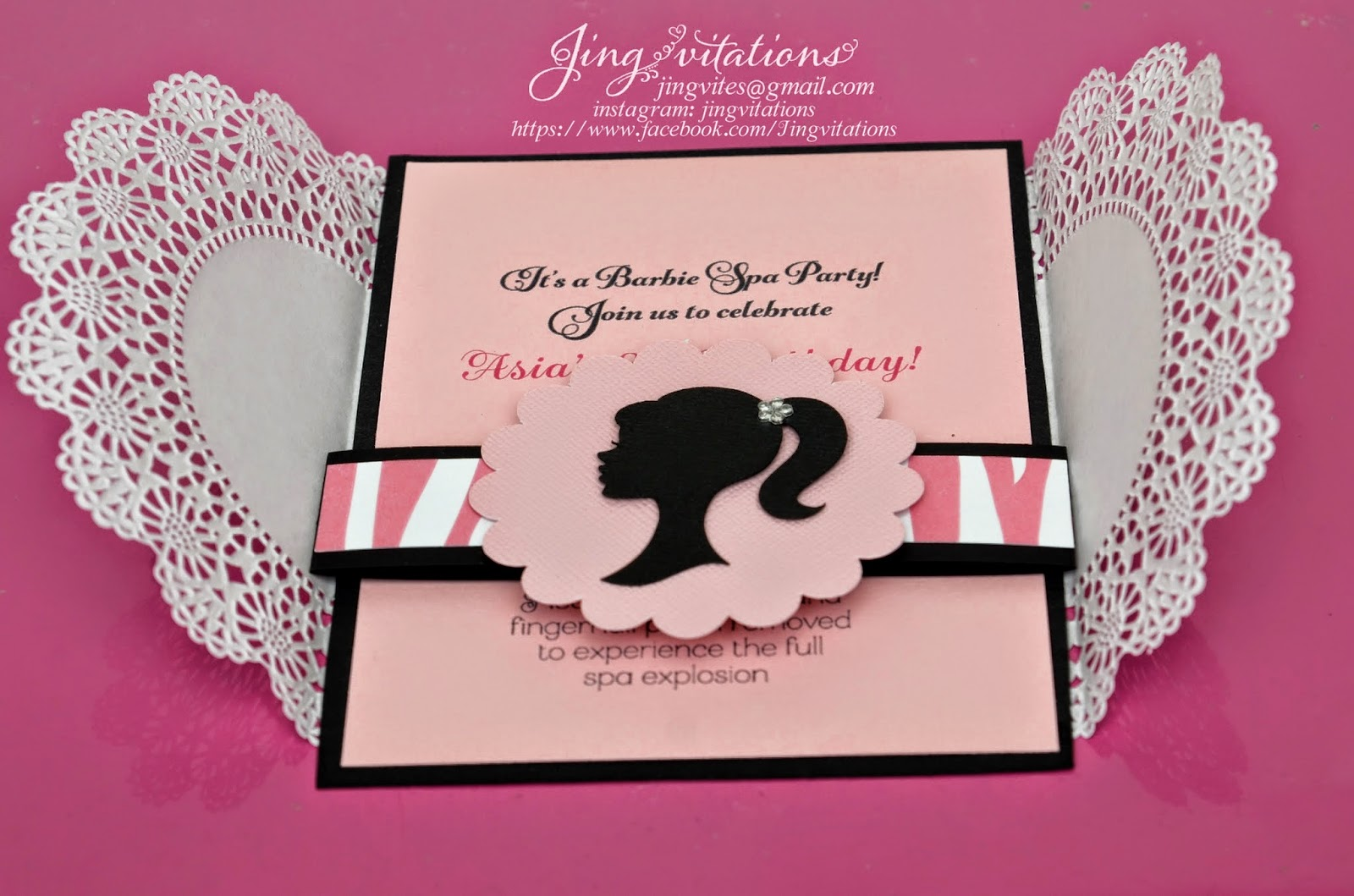 Jingvitations Barbie Doily Invitations
