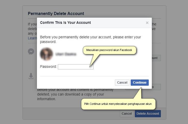 Masukkan password untuk mengkonfirmasi penghapusan akun Facebook