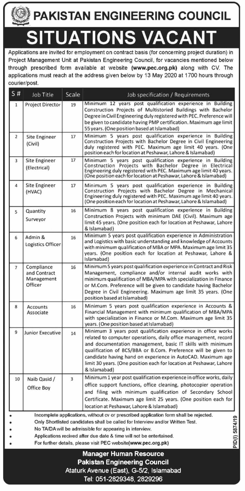 Pakistan Engineering Council Jobs May 2020