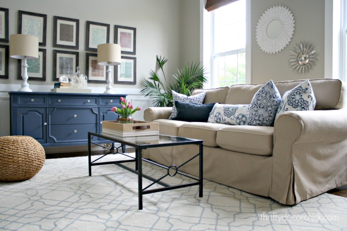 Ektorp Living Room Yellow And Gray Decorating Ideas Our New Sofa In The From Thrifty Decor Chick Slipcovered For A Great Price