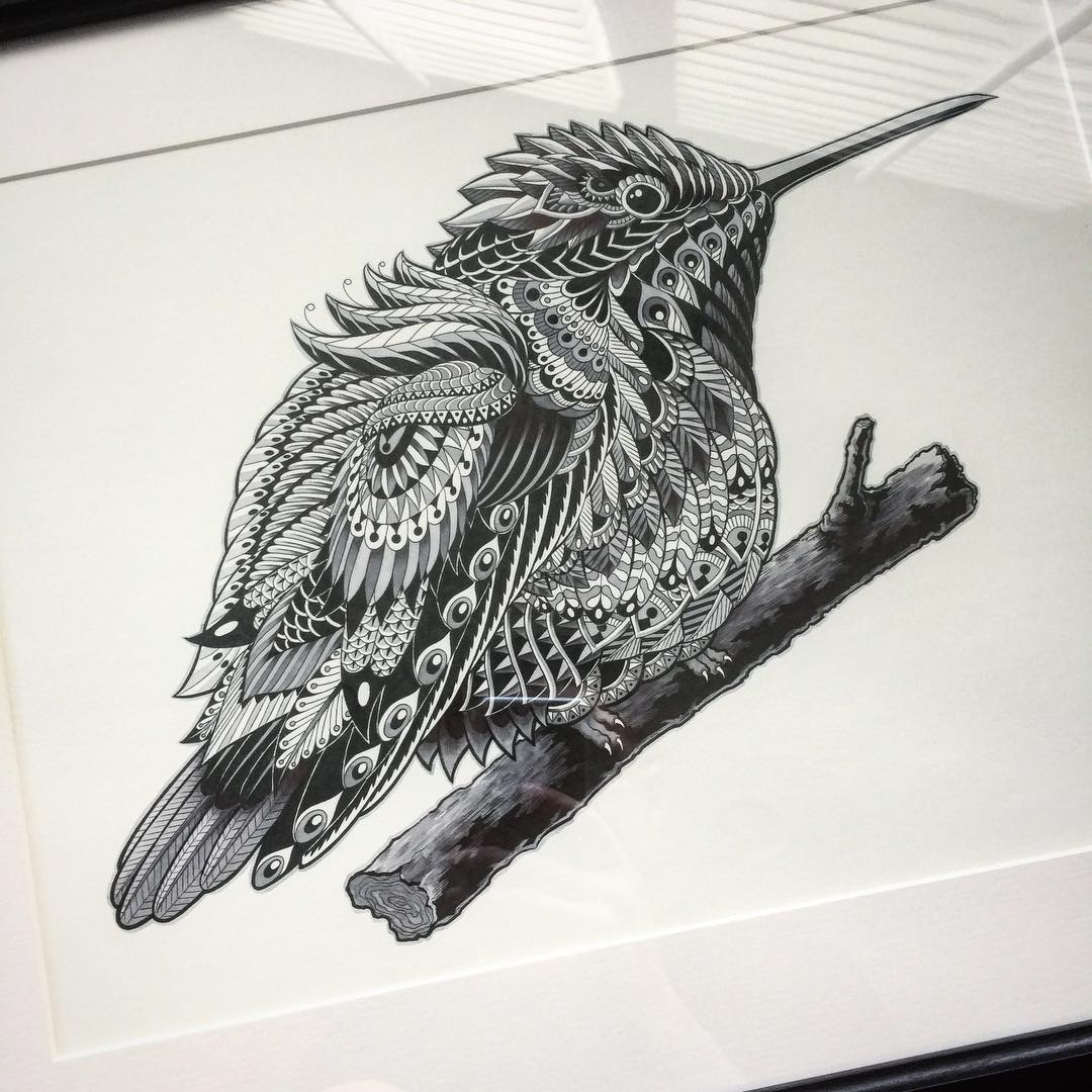 11-Hummingbird-Ben-Kwok-bioworkz-Animals-Drawings-Detailed-with-Elaborate-Geometric-Shapes-www-designstack-co