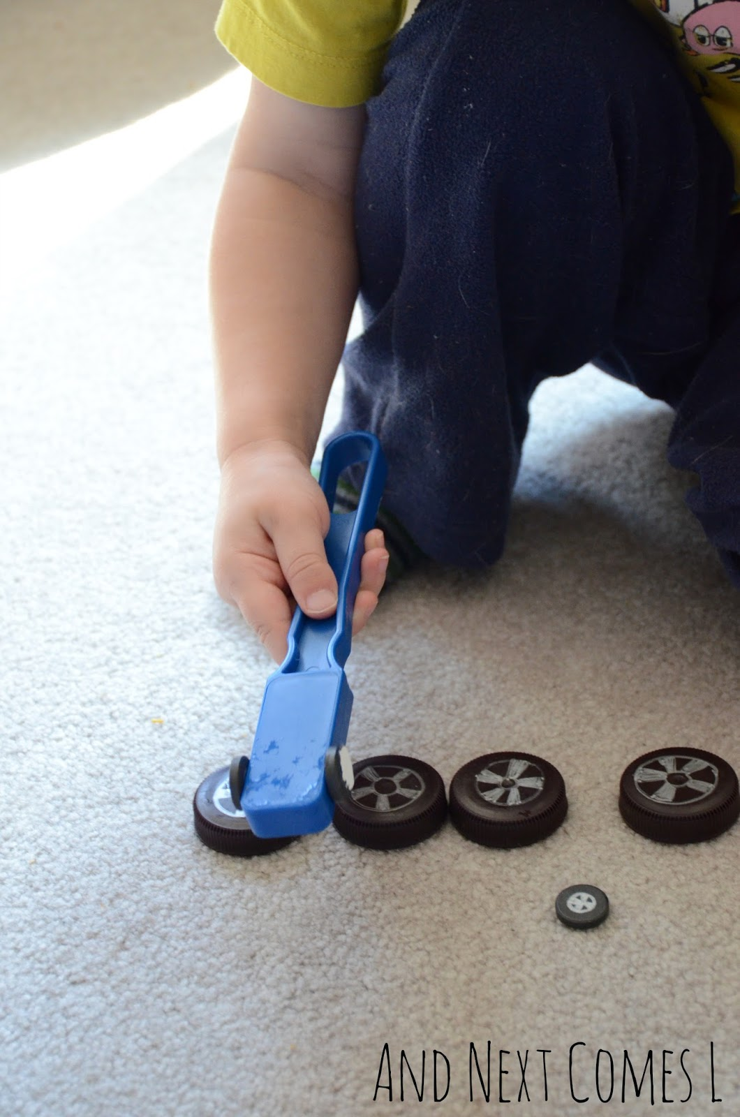Toddler science: exploring magnets with a car theme from And Next Comes L