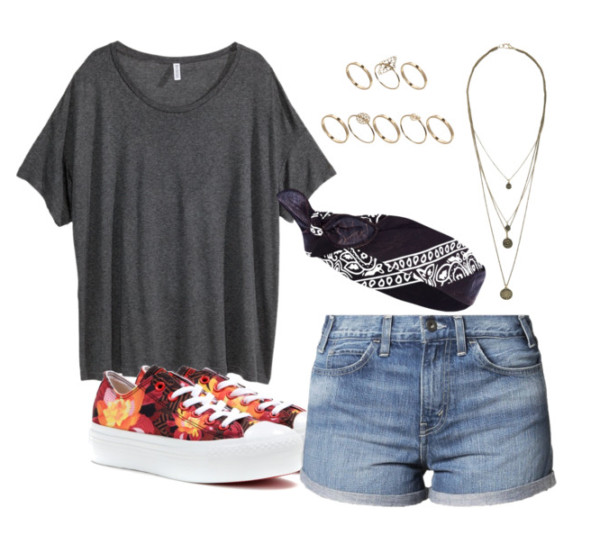 Polyvore - festival inspired outfit including comfy tee and denim shorts and lots of accessories