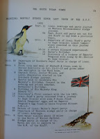 Events of the Month Page from South Polar Times, with illustrations of a penguin and the British flag.