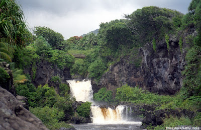 View of a waterfall at the Seven Sacred Pools in Maui