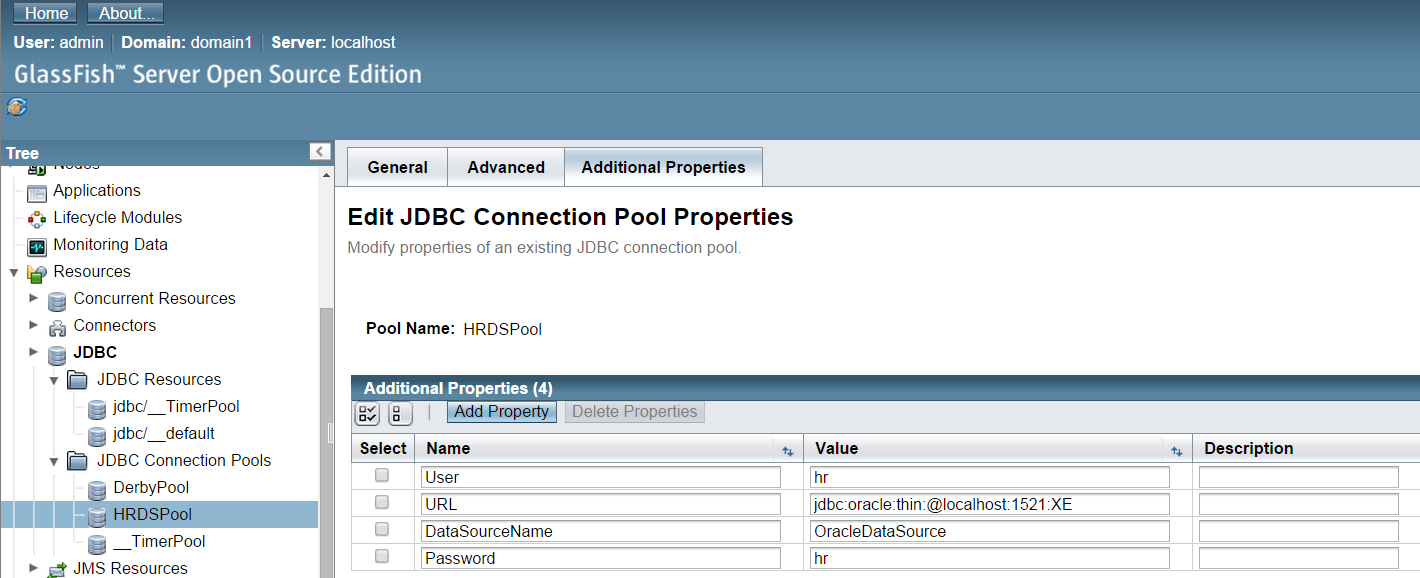 Configuring JNDI Data Source connecting to Oracle DB in GlassFish Server